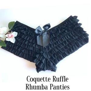 Coquette Black Ruffle Panties Shorts New